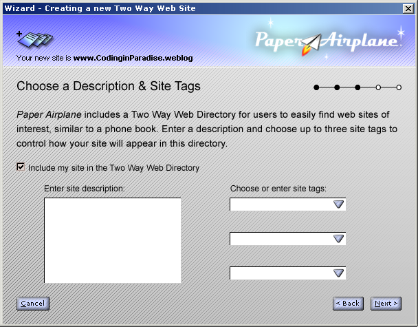 New Site Wizard - Choose Tags